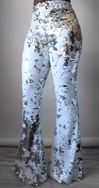 Silver & White Sequin Flare Pants (Front)