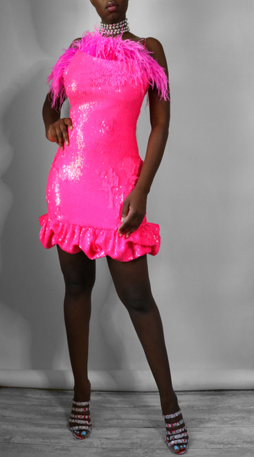 Alexa Hot Pink Sequin Feather Mini Dress (Front)