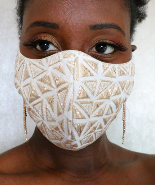 Cotton Triangle Brocade Face Mask
