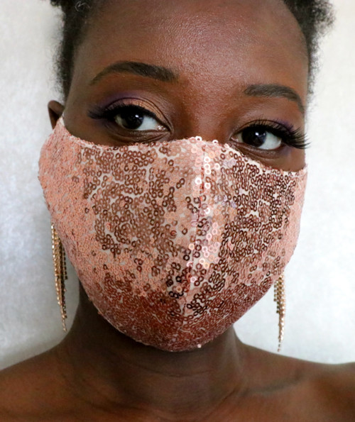 Rose Gold Sequin Face Mask