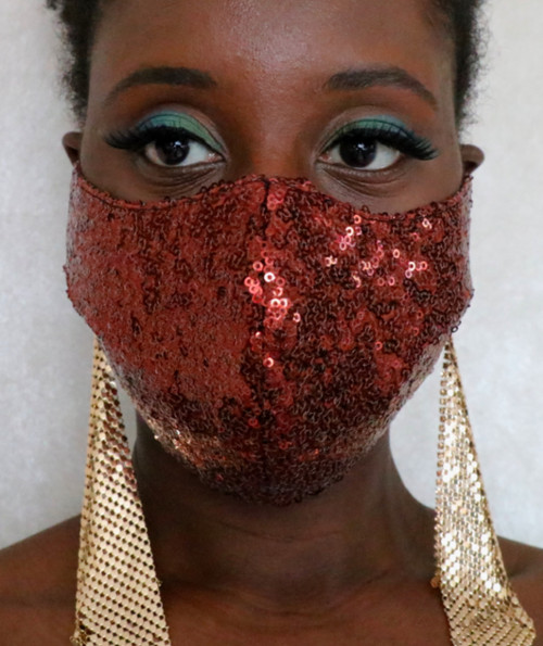 Women's Brown Sequin Fitted Face Mask by Daniela Tabois