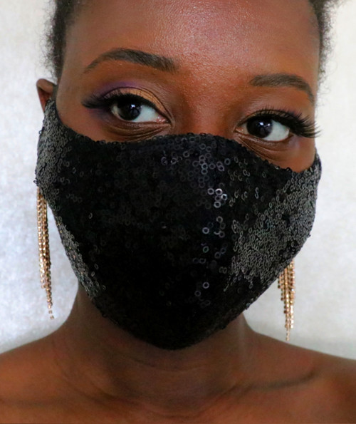 Women's Black Sequin Fitted Face Mask