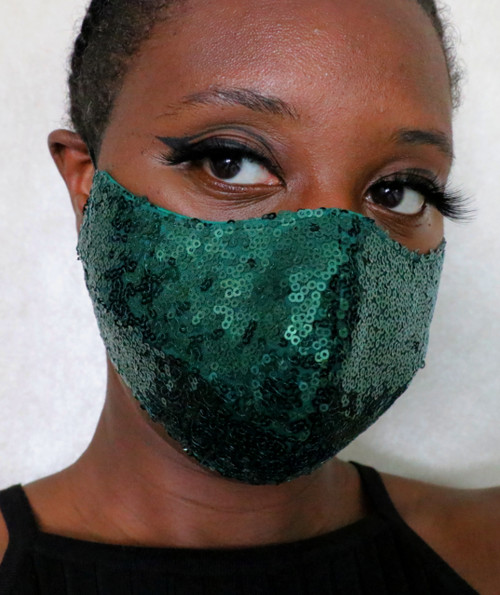 Women's Emerald Green Sequin Fitted Face Mask