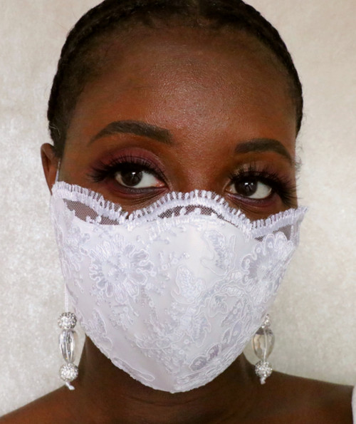 Bridal Scallop Lace Beaded Face Mask