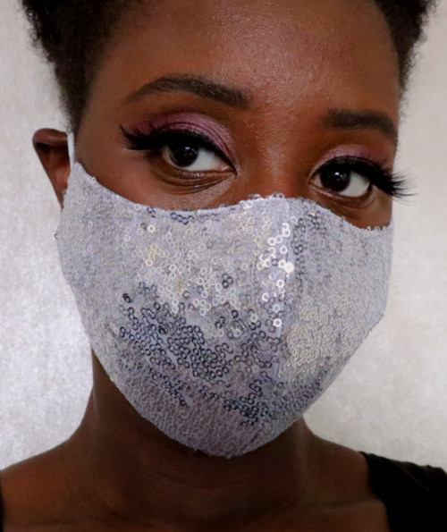 Women's Silver Sequin Fitted Face Mask