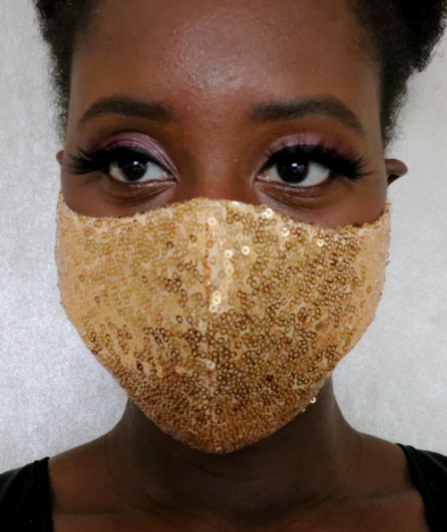 Women's Gold Sequin Fitted Face Mask