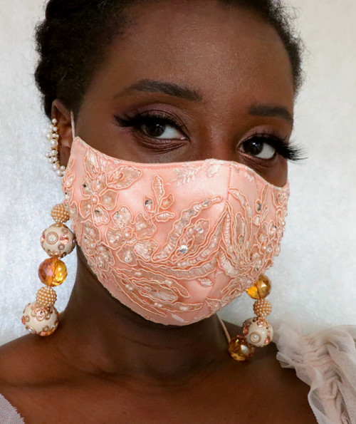 Women's Adjustable Lace bead lanyard Face Mask