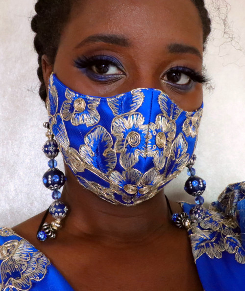 Royalty Blue Lace bead lanyard Face Mask