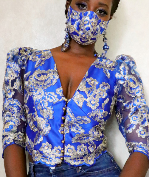 Royalty Blue Lace Puff Sleeve Crop Top Set