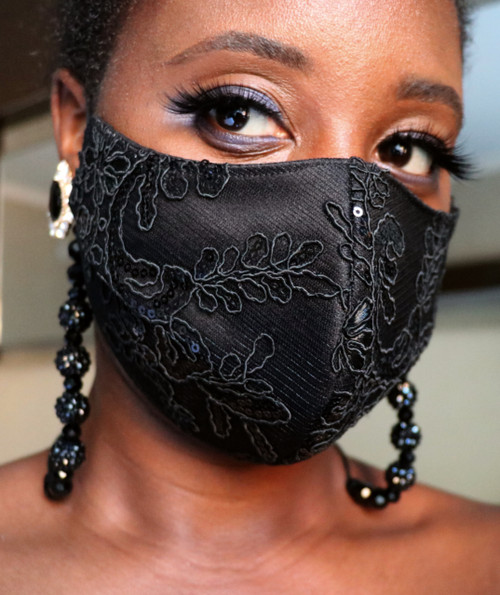 Women's Adjustable Black Lace bead lanyard Face Mask