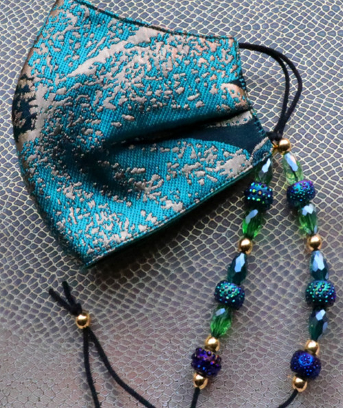 Turquoise Green Adjustable Floral Brocade Bead lanyard Face Mask