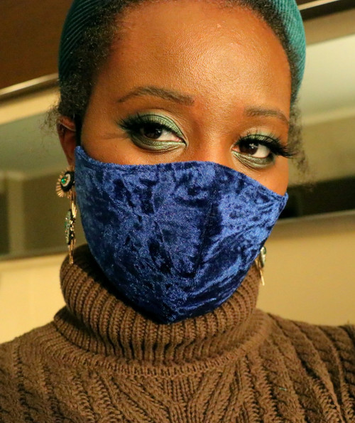 Adjustable Blue Velvet Crinkle Face Mask