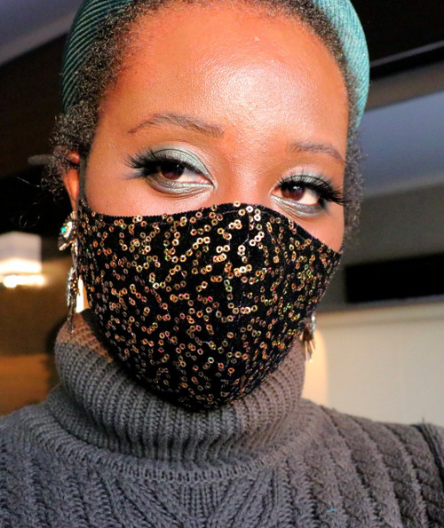 Adjustable Black Sequin Velvet Face Mask