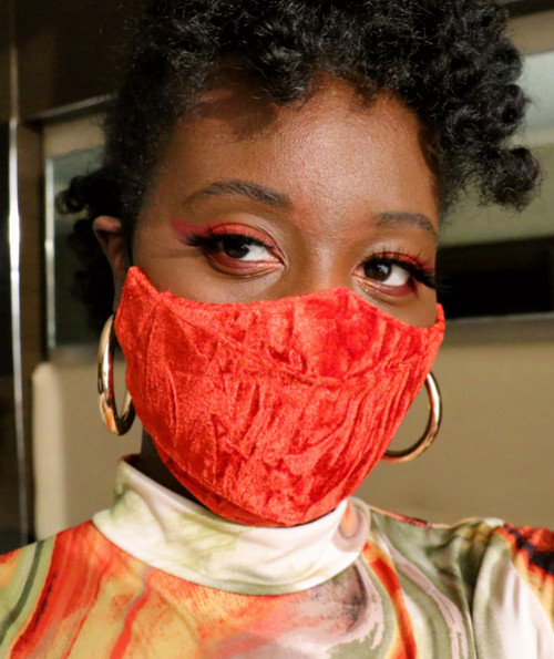 Daniela Tabois Burnt Orange Adjustable 3D Crinkle Velvet Face Mask