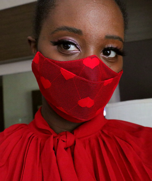 Valentine's Day Red Heart Dot 3D Face Mask