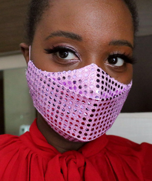 Pink Metallic Polka Dot 3D Face Mask