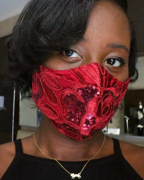 Adjustable 3D Rose Satin Sequin Lace Face Mask