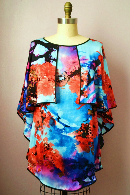 Silk Floral Print Cape Dress Front