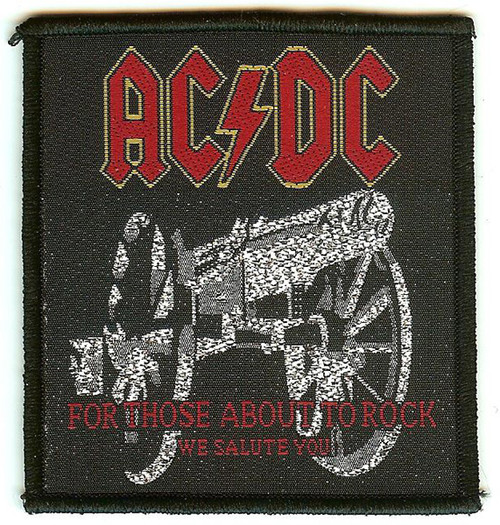 AC/DC Sew On Patch For Those About To Rock Cannon Logo