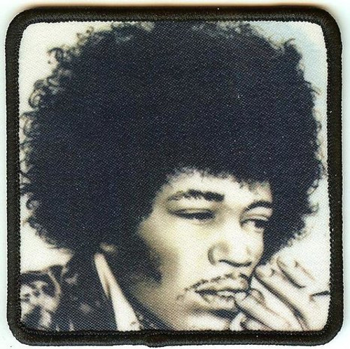 Jimi Hendrix Iron-On Patch BW Portrait