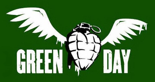 Green Day Poster Flag Winged Grenade Logo