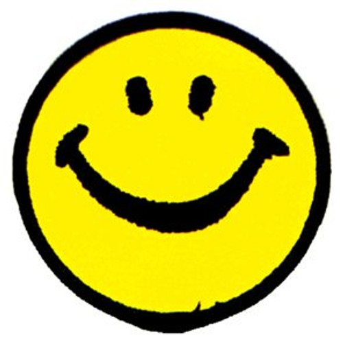 Smiley Happy Face Iron-On Patch Yellow Circle
