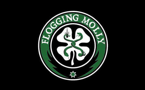 Flogging Molly Poster Flag Black Shamrock Logo Tapestry