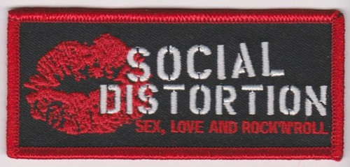Social Distortion Iron-On Patch Rectangle Lips Logo