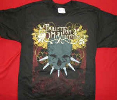 Bullet For My Valentine T-Shirt Skull Logo Black Size Large