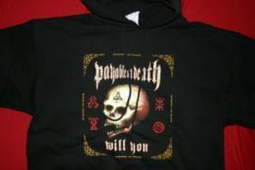 POD Hoodie Sweatshirt Skull Box Black Size Medium