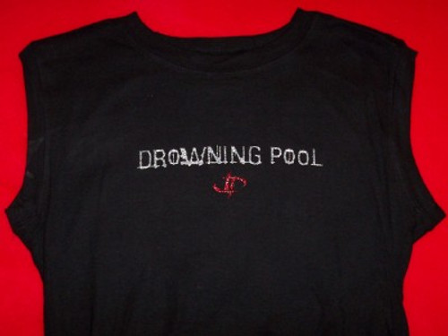 Drowning Pool Sleeveless Babydoll Shirt Letters Logo Black One Size