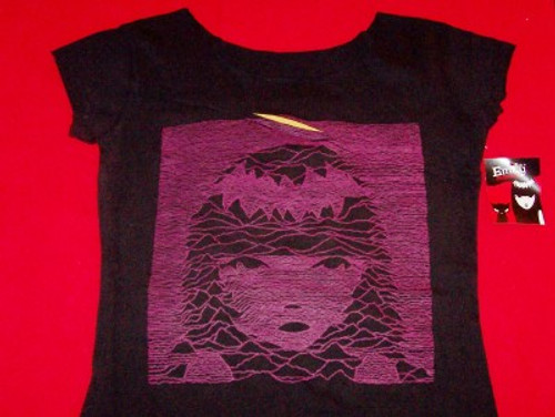 Emily The Strange Babydoll Shirt Purple Face Black Women Size Small