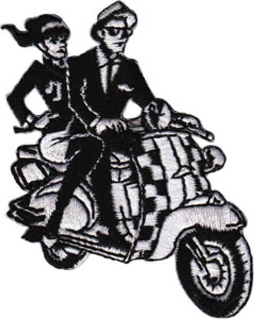 Ska Iron-On Patch Scooter Guy And Girl