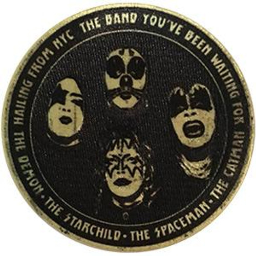 Kiss Iron-On Patch Round Hailing From NYC Logo