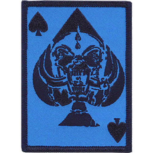 Motorhead Iron-On Patch Blue Ace Of Spades Card Logo