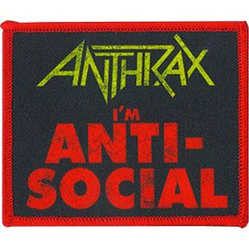Anthrax Iron-On Patch I'm Anti-Social Logo