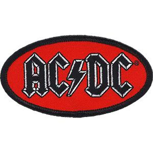 AC/DC Iron-On Patch Oval Black Letters Logo