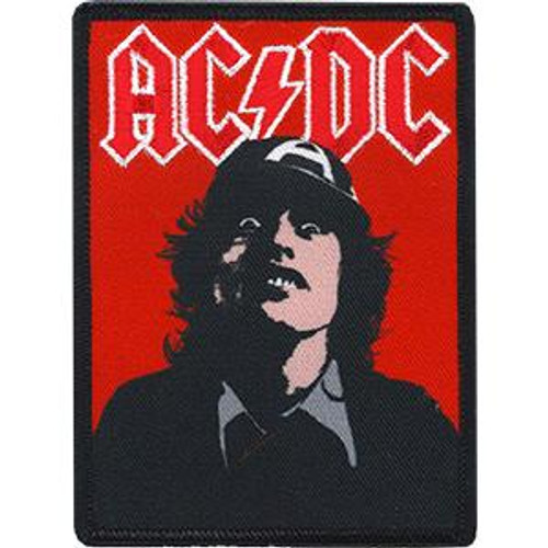 AC/DC Iron-On Patch Rectangle Angus Young Face Logo