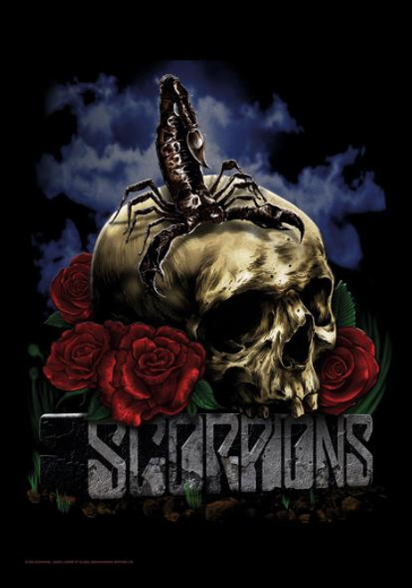 Scorpions Poster Flag Skull And Roses