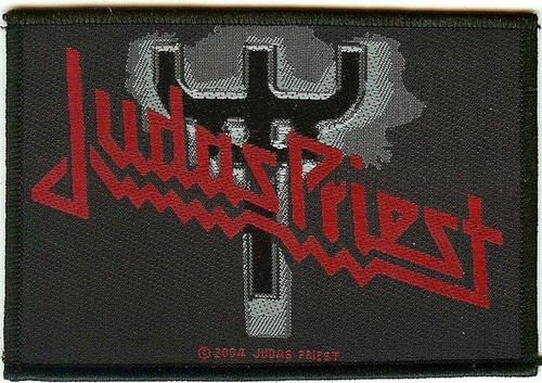 Judas Priest Sew On Patch Red Letters Fork Logo