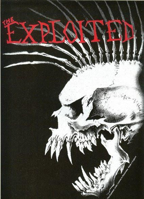 The Exploited Sew On Canvas Back Patch Red Letters Skull Logo