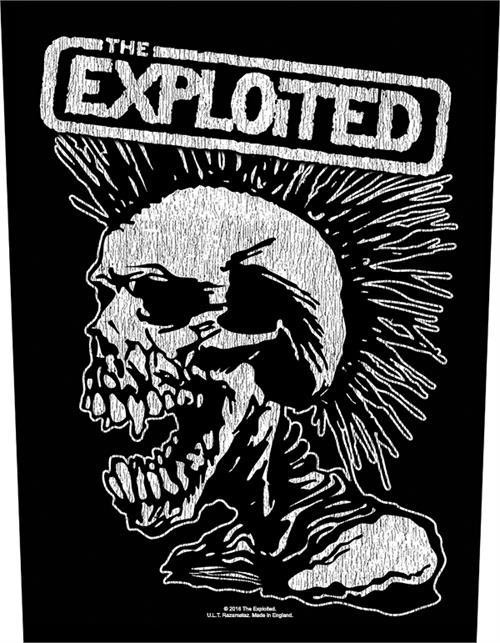 The Exploited Sew On Canvas Back Patch White Letters Skull Logo