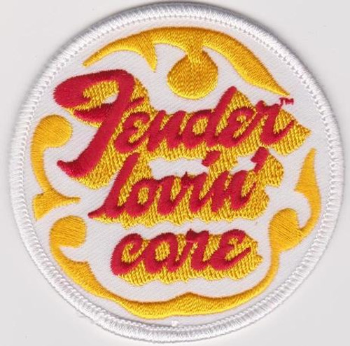 Fender Lovin Care Iron-On Patch Round Red Letters Logo