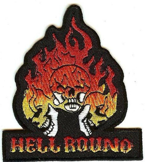 Hellbound Iron-On Patch Flaming Skulls Logo