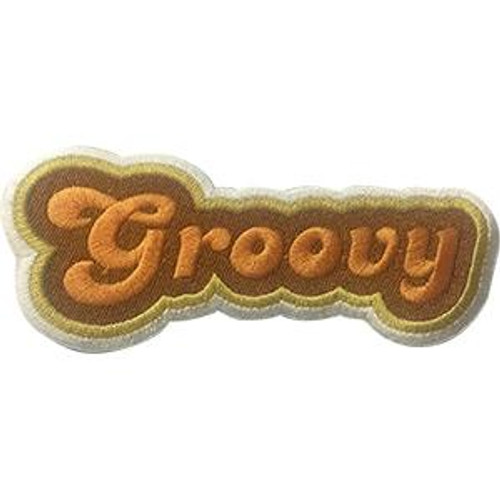 Groovy Iron-On Patch Orange Letters Logo
