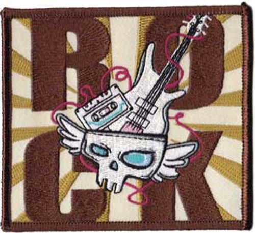 Rock Iron-On Patch Cassette Skull Guitar