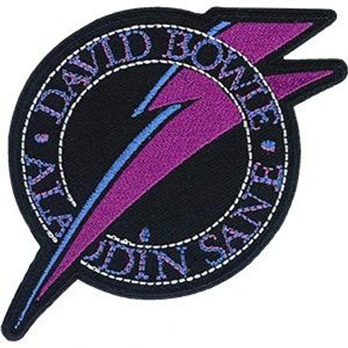 David Bowie Iron-On Patch Round Aladdin Sane Bolt Logo