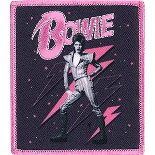 David Bowie Iron-On Patch Pink Bolts Logo