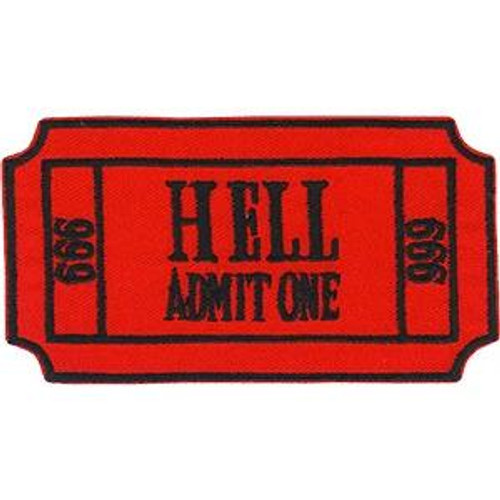 Ticket To Hell Iron-On Patch Admit One 666