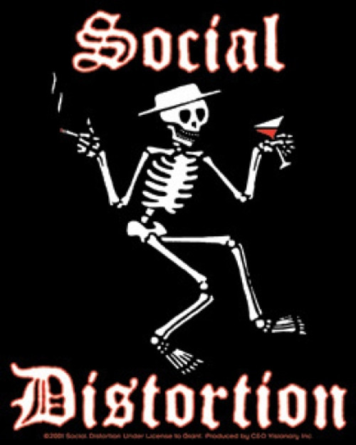 Social Distortion Vinyl Sticker Martini Skeleton Logo